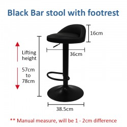 Modern Simple Bar Stool Chair WITH Footrest (Black)