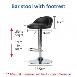 Modern Simple Bar Stool Chair WITH Footrest (Silver)