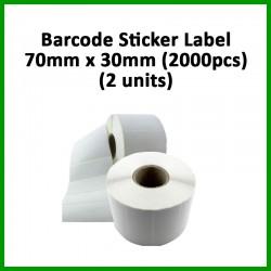 Evio Asia Barcode Blank Sticker Label (70mm x 30mm), 2000pcs