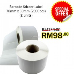 Evio Asia Barcode Blank Sticker Label (70mm x 30mm), 2000pcs