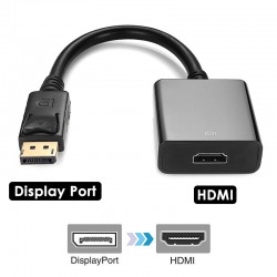 1080p Display Port to HDMI Video Converter Adapter Cable with Audio Support