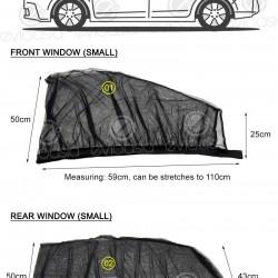 (4 PCS) Car Window Sun Shade Mesh Cover (Small, Front & Rear)