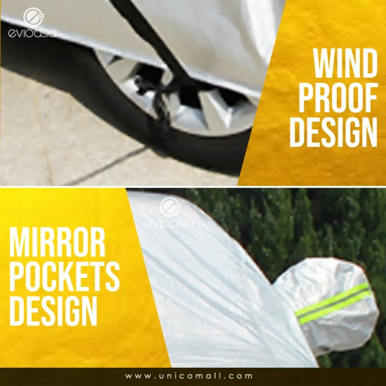 Evio Asia Premium Full Reflective Car Cover With Zipper Door Design Anti-UV Heat Rain Dust Protection + WARRANTY -Model CBS