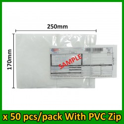 (50 pcs/pack) Evio Asia A5 size Consignment Note Pocket with PVC Zip