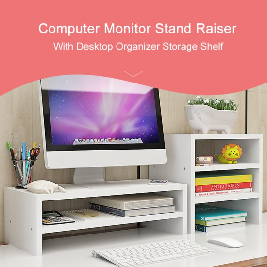 Wood Computer Monitor Stand Riser and PC Screen TV Riser for Home Office (Double Layer + 3 Tier Storage Shelf)