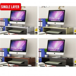 Wood Computer Monitor Stand Riser and PC Screen TV Riser for Home Office (Single Layer)