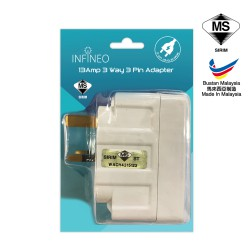 13Amp 3 Way 3 Pin Adapter With SIRIM