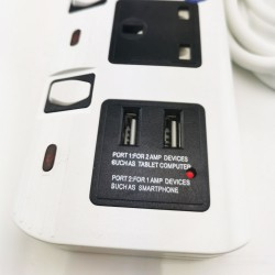 4 Way Portable Socket Outlets and 2 USB Port (2 Meter)