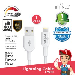 INFINEO Lightning Cable to USB Charging Cable for iPhone Support Latest iOS Version, 1 Meter