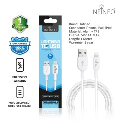 INFINEO Lightning Cable to USB Charging Cable for iPhone Support Latest iOS Version, 30 CM