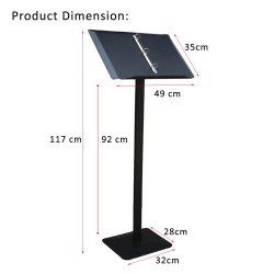 Steel Portable Menu Display Stand with Detachable Ring Binder