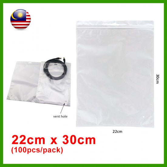 (22cm x 30cm) Clear White Plastic Bag Zip Lock Pouch Packaging / Plastik Beg (100pcs/pack)