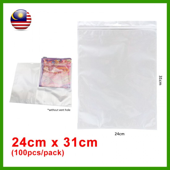 (24cm x 31cm) Clear White Plastic Bag Zip Lock Pouch Packaging / Plastik Beg (100pcs/pack)