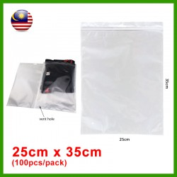 (25cm x 35cm) Clear White Plastic Bag Zip Lock Pouch Packaging / Plastik Beg (100pcs/pack)