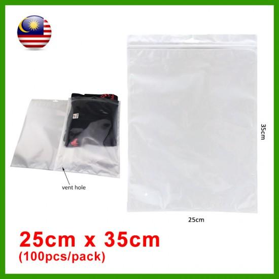 (25cm x 35cm) Clear White Plastic Bag Zip Lock Pouch Packaging / Plastik Beg (100pcs/pack)