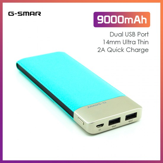 G-SMAR 9000mAh DP663 Powerbank (Dual Port, 2A Quick Charge)