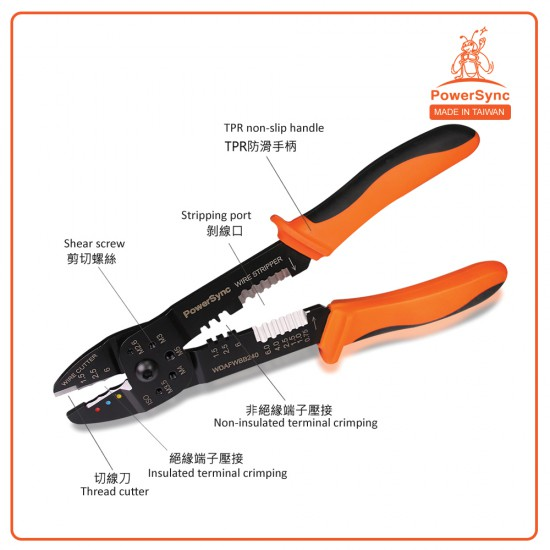 PowerSync 4-in-1 Wire Crimping Pliers 9½ Inches