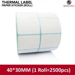 Thermal Label Paper Sticker Roll 40mm x 30mm (2500pcs)