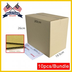 (300mmx195mmx260mm, Set of 10) Evio Asia Single Wall Cardboard Carton Box Kotak