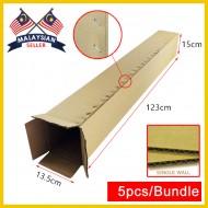 (1230mm x 135mm x 150mm, Set of 5) Long Cardboard Carton Box Single Wall Rectangle Cardboard Shipping Box Kotak