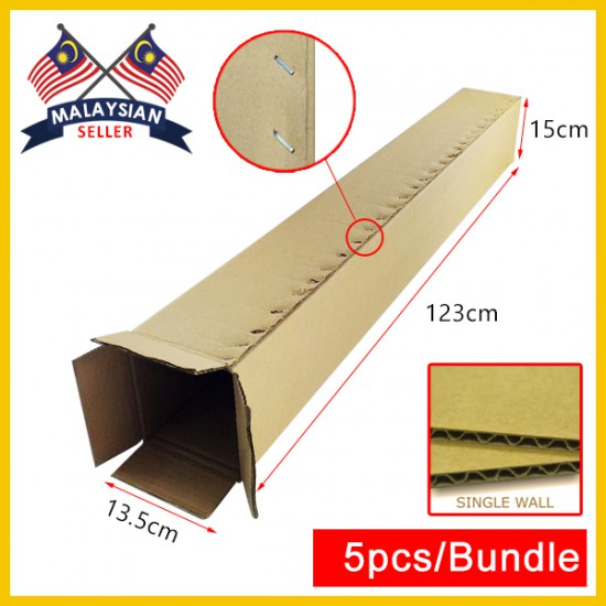 (1230mm x 135mm x 150mm, Set of 5) Long Cardboard Carton Box Single Wall Rectangle Cardboard Shipping Box Kotak