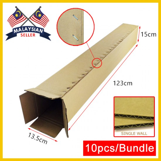 (1230mm x 135mm x 150mm, Set of 10) Long Cardboard Carton Box Single Wall Rectangle Cardboard Shipping Box Kotak