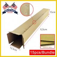 (1230mm x 135mm x 150mm, Set of 15) Long Cardboard Carton Box Single Wall Rectangle Cardboard Shipping Box Kotak