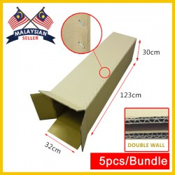 (1230mm x 320mm x 300mm, Set of 5) Long Double Wall Cardboard Carton Box Rectangle Cardboard Shipping Box Kotak