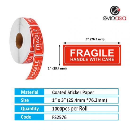 "Fragile Warning Label Sticker 1"" x 3"""
