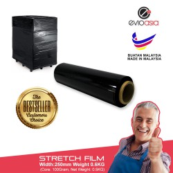 Evio Asia Black Stretch Film Box Wrapping Plastic Roll Width 250mm x 600gram