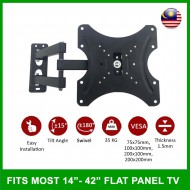 14 inch - 42 inch Flat Screen LED LCD Full Motion Support TV Wall Mount Bracket Swivel 180 Degree