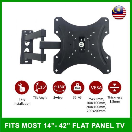 14 inch - 42 inch Flat Screen LED LCD Full Motion Support TV Wall Mount Bracket Swivel 180 Degree