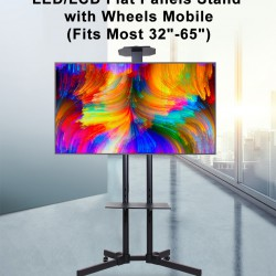 "LED/LCD Flat Panels Stand with Wheels Mobile(Fits Most 32""-65"")"
