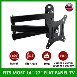 "Retractable TV Wall Bracket Suitable for 14"" – 27"" Flat Panel TV"