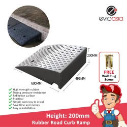 Heavy Duty Rubber Road Curb Ramp, Height 200MM
