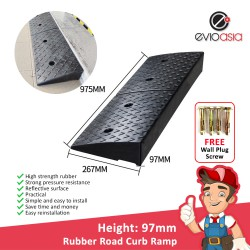Heavy Duty Rubber Road Curb Ramp, Height 97MM