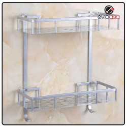 Aluminium 2-tier Square Bathroom Shelf Organizer (No Drilling)