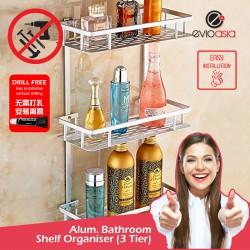 Aluminium 3-tier Square Bathroom Shelf Organizer (No Drilling)