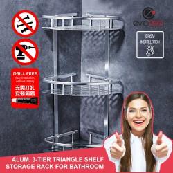 Aluminium 3-tier Triangle Bathroom Shelf Organizer (No Drilling)